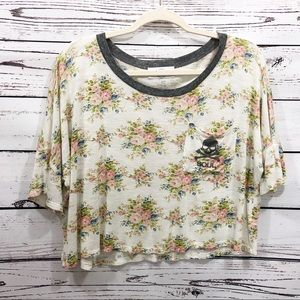 Soulcycle Cropped Athletic Floral Ringer T-Shirt